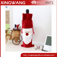New product embroidery smily santa face christmas wine bag wholesale