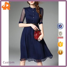 Lady New Fashion Formal Work Swing Silk blend Midi Prom Dress For Sale
