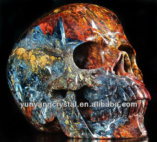 Fashion Natural Tiger Eye Carved stone skull carving sale