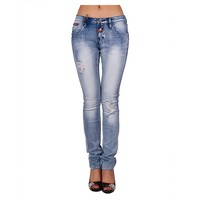 Newest model denim jeans wholesale ripped jeans pants bleach wash jeans for women