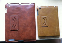 2012 new design for ipad 3 smart cover leather case rotating stand