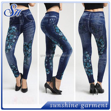 Fashion Women's Pants Stretchy Skinny Slim Jeggings Jeans Look Printed