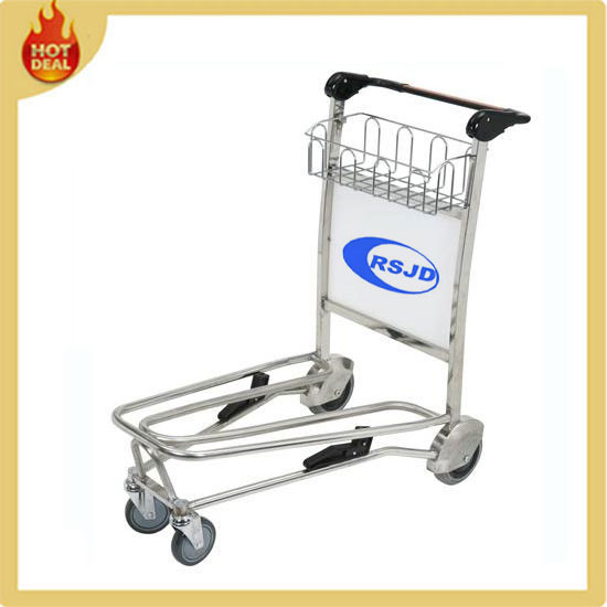 Stainless steel four wheel airport hand cart with basket