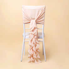 Competitive price chiffon purple ruffled chair sash for sale