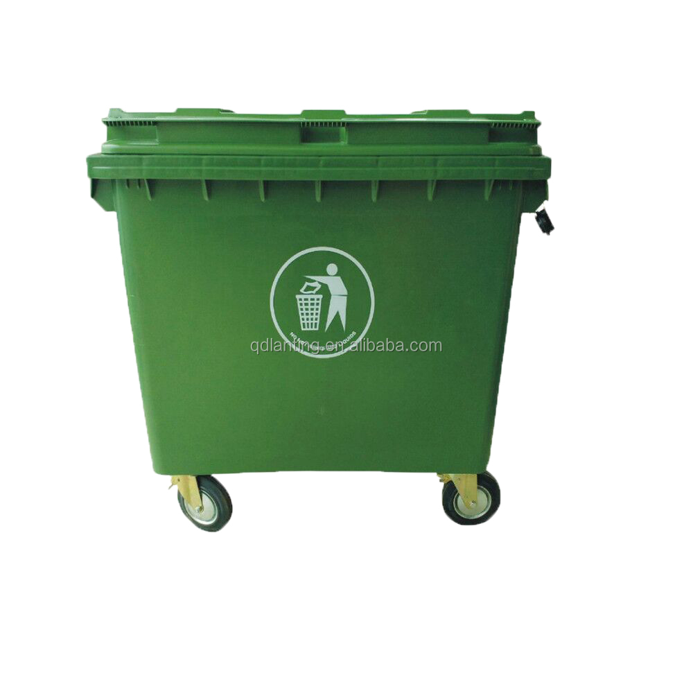 1100L/660L large garbage bins outdoor dustbin printed trash cans with EN840 certificate