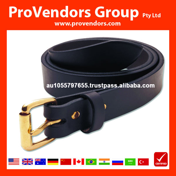 High Quality Genuine Leather Belt - Brown Leather Belt with Gold Buckle