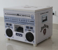 Full printing metal music box cooler box with bluetooth speaker (C-028)
