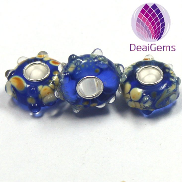 Handmade Large hole European crystal glass beads