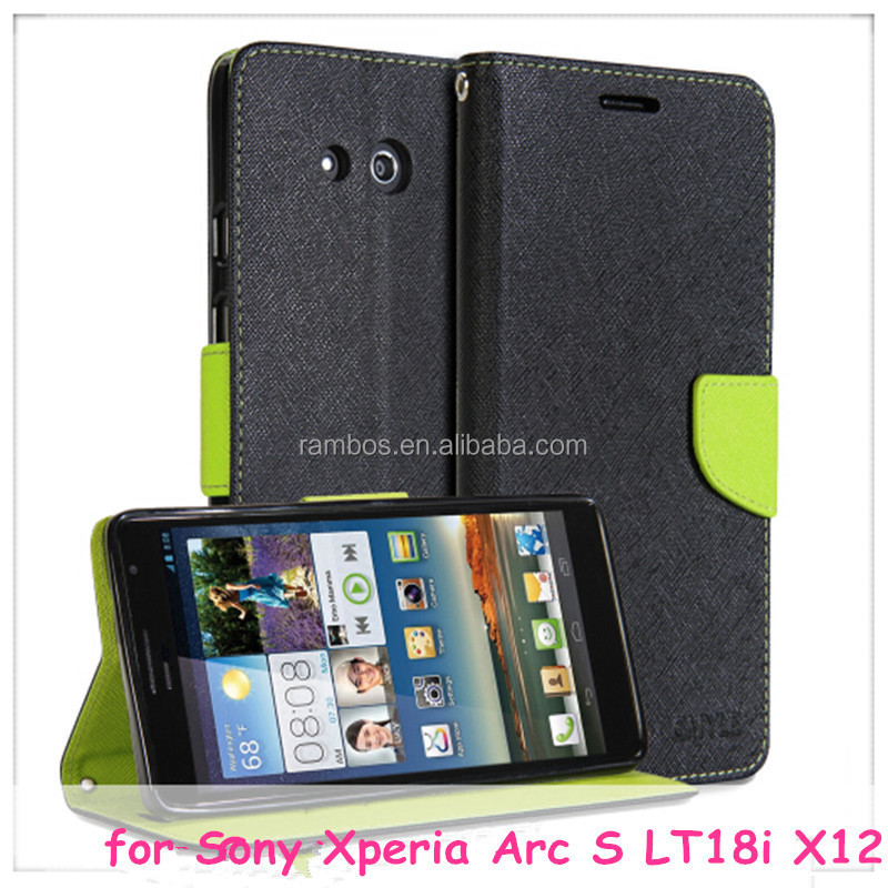 Preminum Wallet Case Stand Flip Cover Leather Case for Sony Xperia Arc S LT18i X12/ for Xperia go ST27i