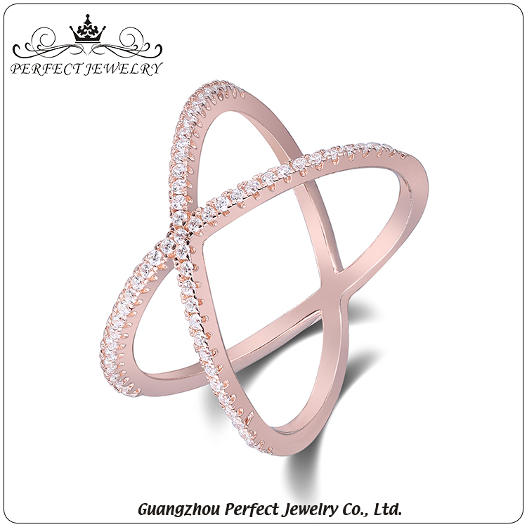 Wholesale women accessories latest design plating rose gold X shape 925 silver cz ring for gift