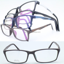 lightweight TR90 combined aluminum side arm built-in spring hinge rectangle shape bicolor eyewear frames for young man