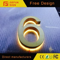 Customized laser cut anti-rust building use backlit stainless steel house number