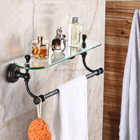 Wholesale And Retail Luxury Bathroom Shelf Oil Rubbed Bronze Flower Carved Glass Shelf Tier W/ Towel Bar Wall Mounted