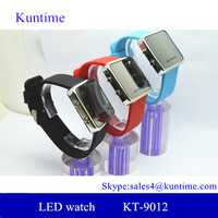 Hot digital LED square mirror face mens womens silicone sports date wrist watch