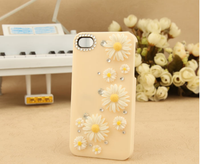 Chrysanthemum Diamond Bling Daisy Crystal Clear Hard PC Cell Phone Case for iphone 6 plus