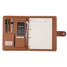 New Arrival A4 Leather 4 Ring Binder Expanding File Folder with Notepad