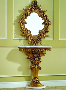Gold Color Solid Wood Gilding Console Table With Marble Counter Top, Hall Table With Mirror