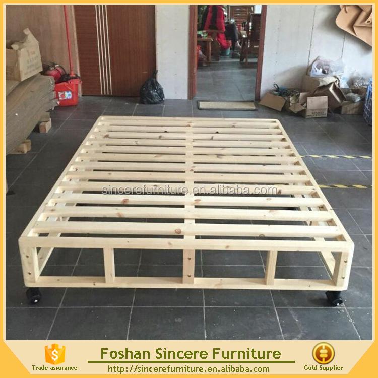 Bedroom Furniture Solid Wood Bed Frame Kd Slatted Mattress Foundation