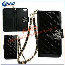 phone case with Bracelet Grid Wallet Leather handbag Case with Camellia flower card slots Stand for iPhone 5
