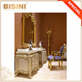 European Royal Palace Style Bedroom Furniture Dressing Table Mirror Set, Antique Gold Trim White Stain Vanity Table Set