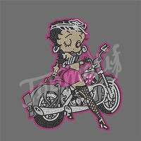 Sexy Betty Boop Hotfix Rhinestone Motorcycle Iron on Transfer
