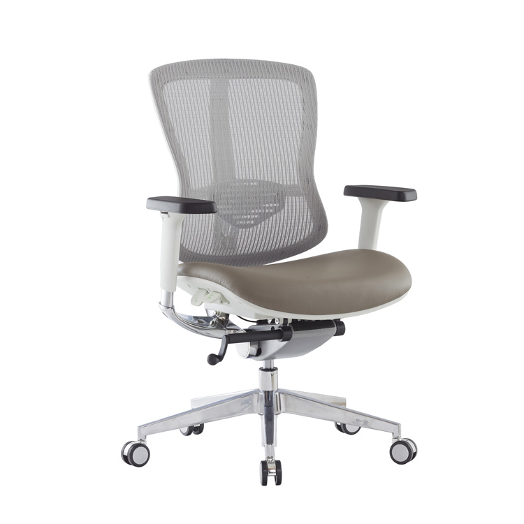 OEM factory hs code no pillow ergonomic boss leather swivel mesh back office chair with leather cushion