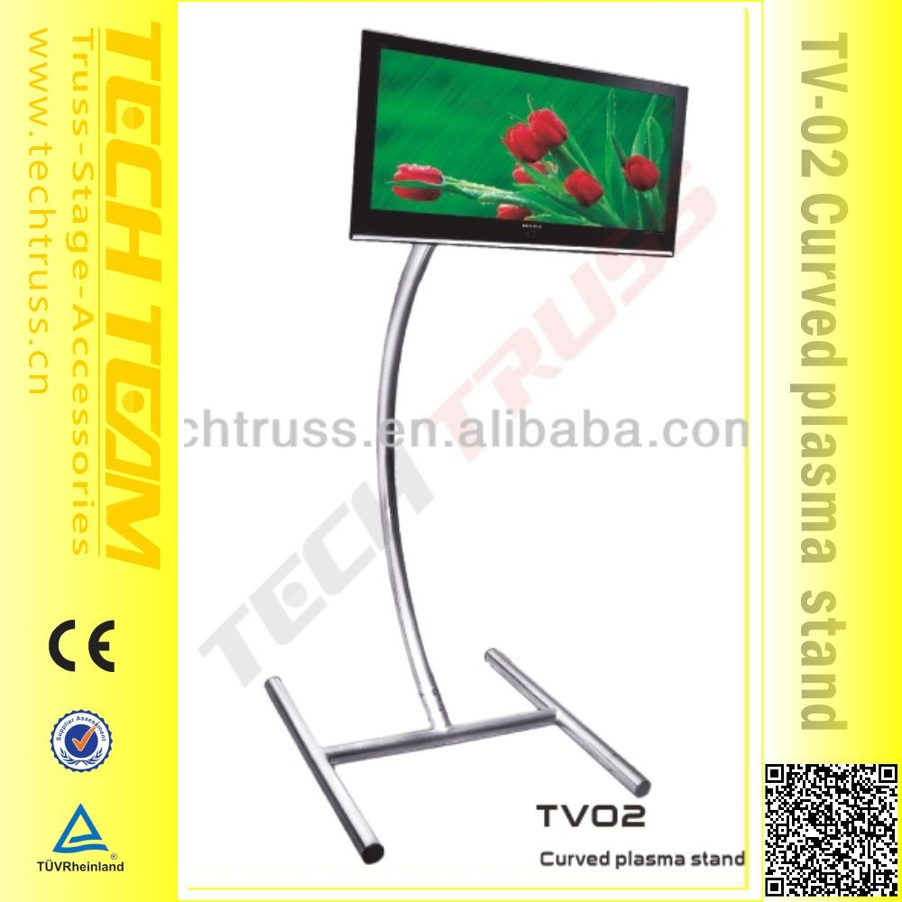 2000 mm Height Curved Triangle Aluminum Presentation TV Stand.