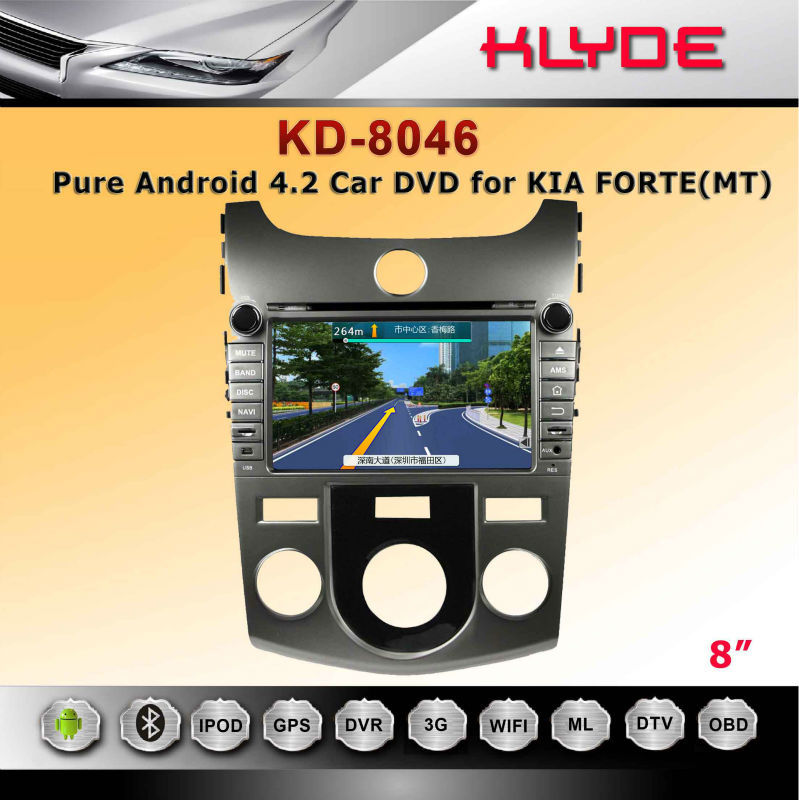 pure android 4.2.2 car dvd player for KIA CERATO/FORTE (MT) with GPS