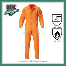 Orange cotton safety work overall for men
