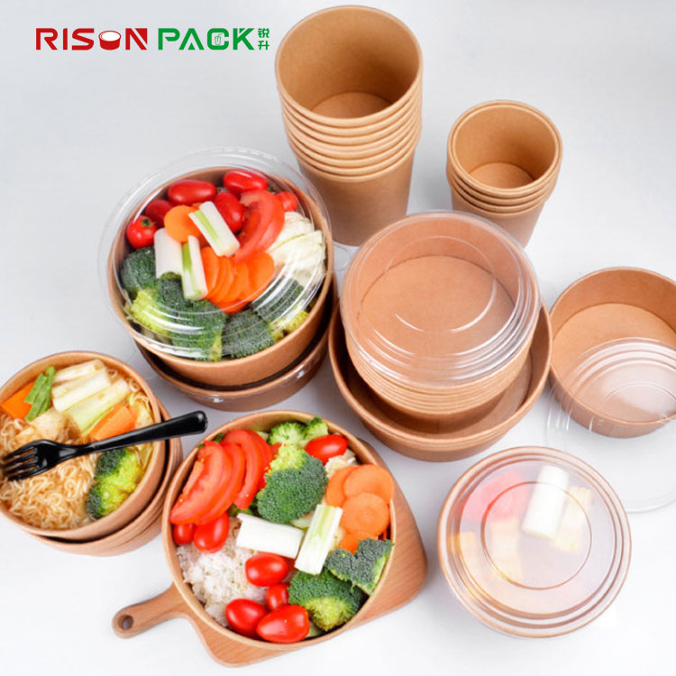 biodegradable pla disposable take away kraft paper salad bowl cup with PET lid