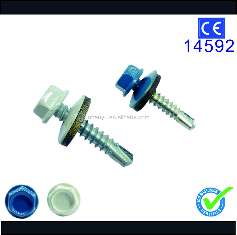 painted hex head drilling screw