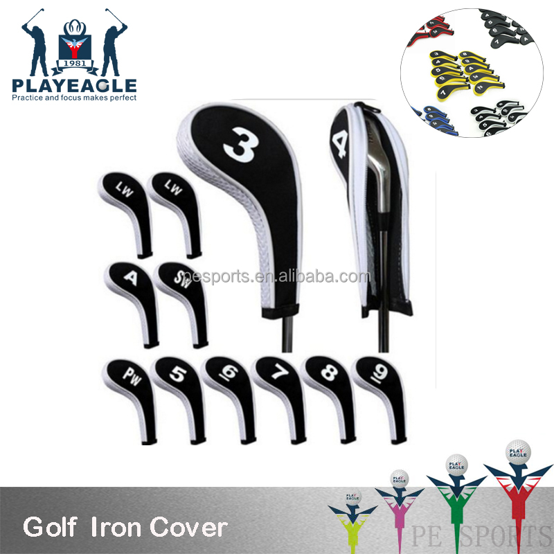 Customized Zipper Golf Covers Number Lable Set for Irons Golf Club 10pcs/set Neoprene Golf Head Covers