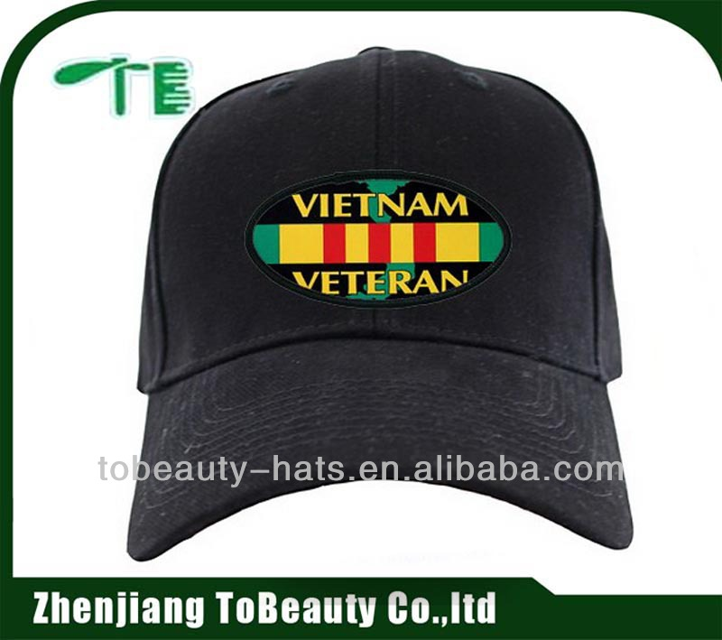 Baseball military cap with remarkable flag