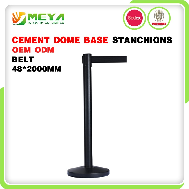 Stainless Steel Pipe Construction Ropes Mobile Pole Queue Rope Retractable Belt Stanchion Metal Stand Crowd Control Barrier
