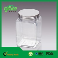 500ml Aluminum Lid PET Clear Cookie Plastic Jars Transparent