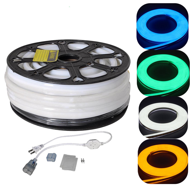 220V 110V 50m Indoor Outdoor Flex LED Neon Rope Light for Holiday Party Valentine Decoration Blue Yellow White by <strong>DHL</strong>