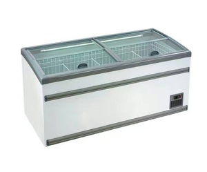 Supermarket air curtain commercial refrigerator top glass sliding door mobile deep chest island display blast freezer