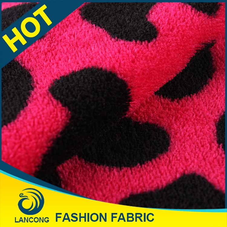 Elastane fabric pink cow pattern coral fleece