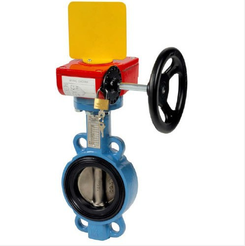 Worm Gear/ gearbox Operated Hand Lever Wafer Type Butterfly Valve with high quality