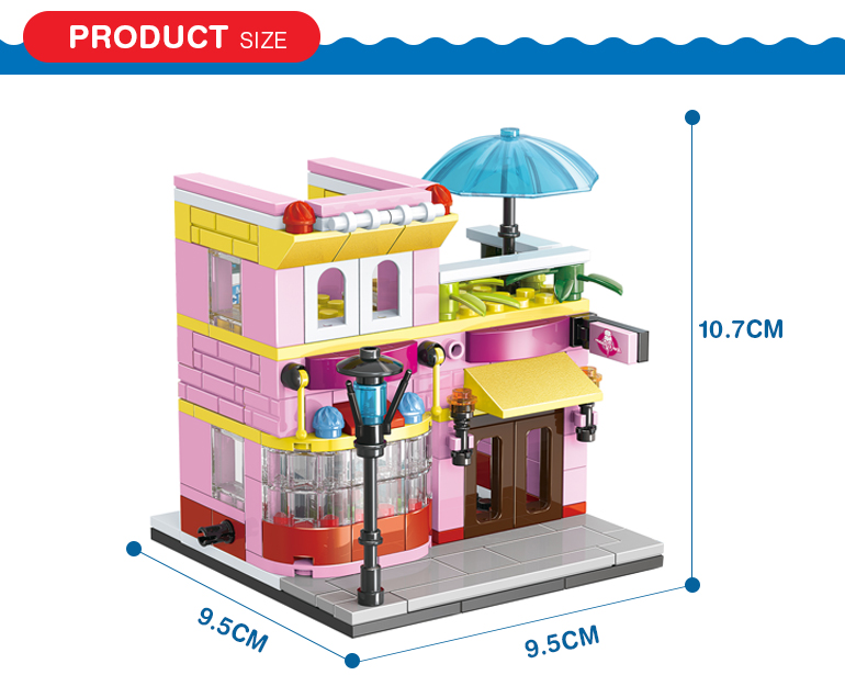 145 pcs 3d diy city street building block model ice cream shop toy for kids role playing
