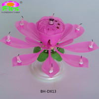 2015 Hot Lotus Rotating Flower Musical Candle for Center Table Decorations