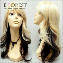 New Sex Ladies High Quality Halloween Wig Wavy Blonde Human Full lace Wigs For Sale Long Hair Sex Woman Wig