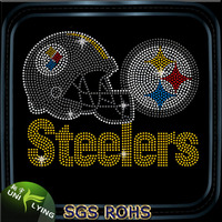 Steelers helmet and logo rhinestone steelers heat transfer
