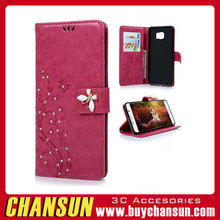 Beauty Printing Flower PU Leather Wallet Phone Case 3D Handmade Rhinestone For LG Optimus G3
