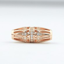 Rose Gold plated 925 sterling silver bracelet tube charms beads jewelry perfect match wtih leather bracelet