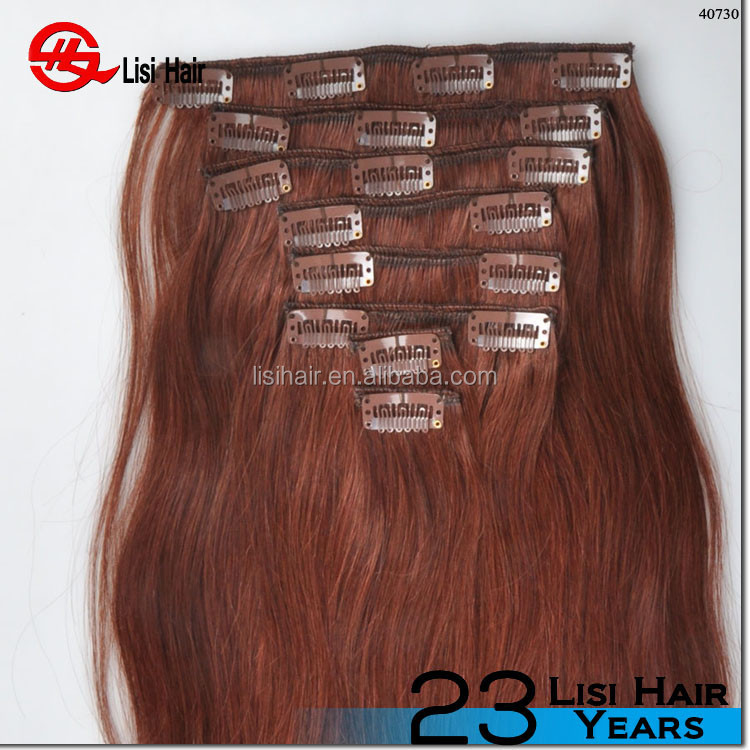 Unprocessed full cuticle human hair extensions full head remy clip in bang russian remy