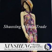 shaoxing beautiful design sublimation heat transfer printing 100%polyester chiffon fabric for dress