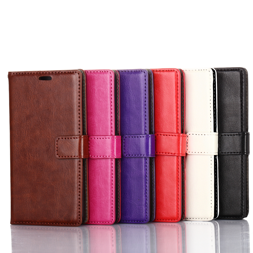Crazy Horse leather wallet oil flip cover Mobile Phone bumper case with photo Frame for sony xperia e3