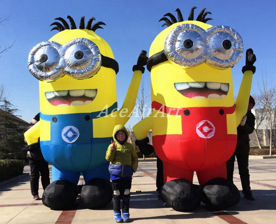 inflatable cartoon characters 2.5m H 2 Eyes Advertising Inflatable Minion Cartoon