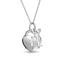 Fine jewelry wholesale 925 sterling silver heart lock and key pendant necklace
